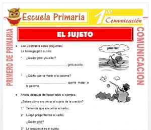 Ficha de El Sujeto para Niños de Primero de Primaria
