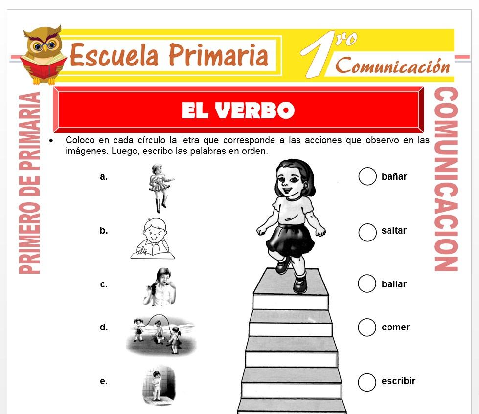 Ficha de El Verbo para Niños de Primero de Primaria