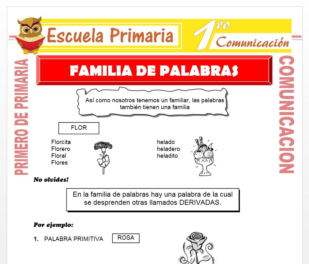 Ficha de Familia de Palabras para Primero de Primaria