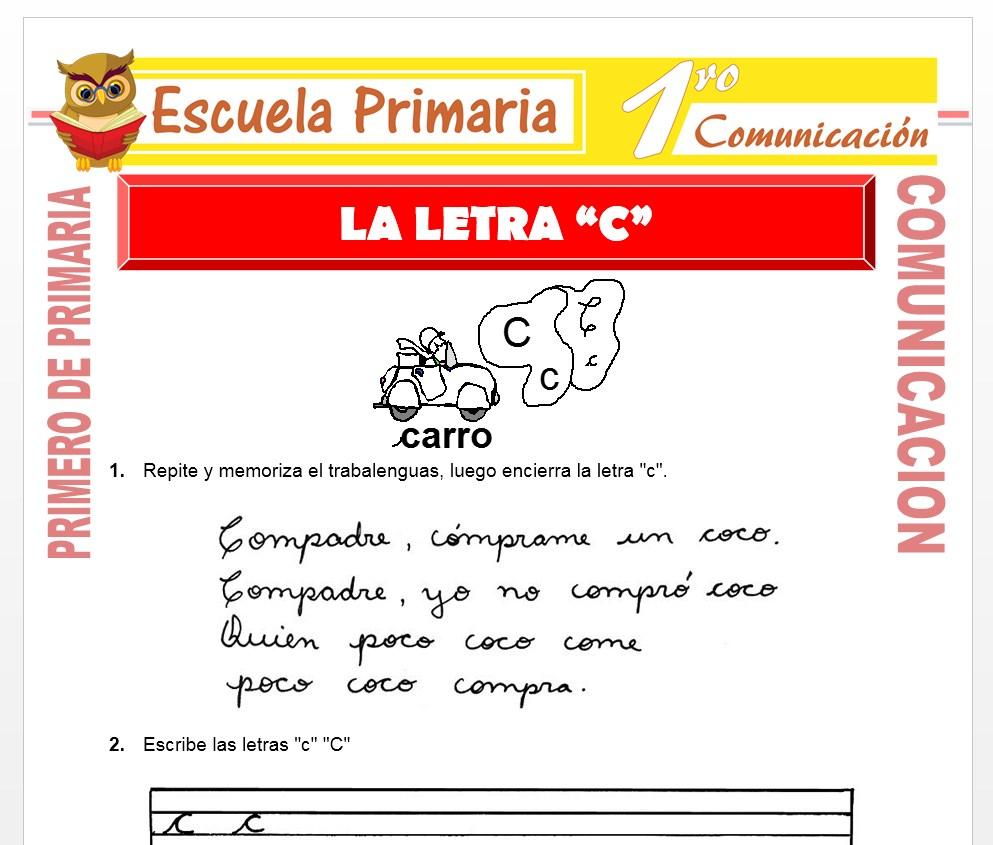 Ficha de La Letra C para Primero de Primaria