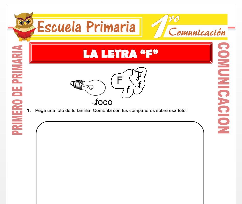 Ficha de La Letra F para Primero de Primaria