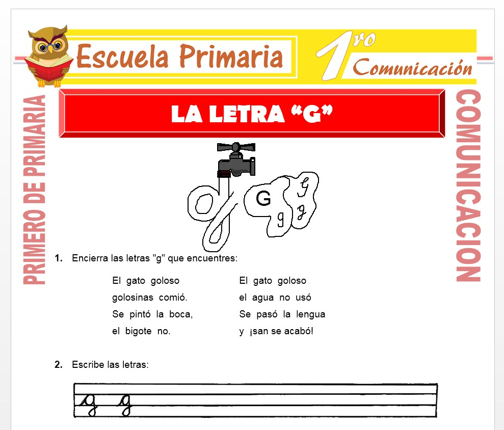 Ficha de La Letra G para Primero de Primaria