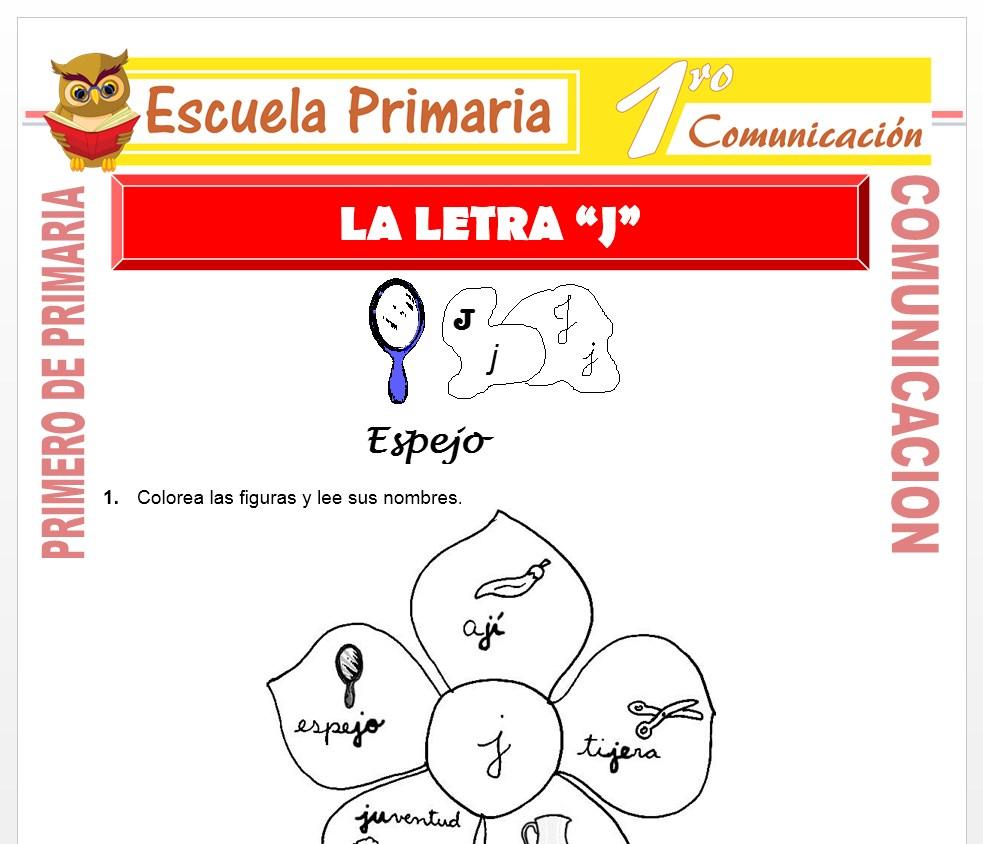 Ficha de La Letra J para Primero de Primaria