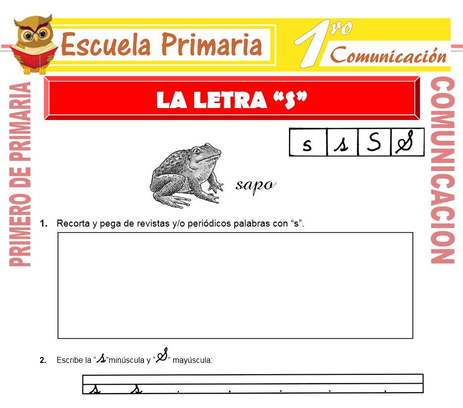 Ficha de La Letra S para Primero de Primaria