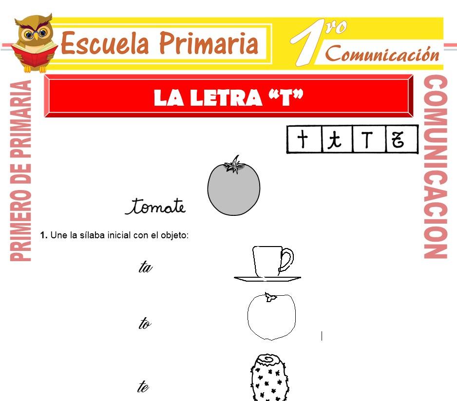 Ficha de La Letra T para Primero de Primaria