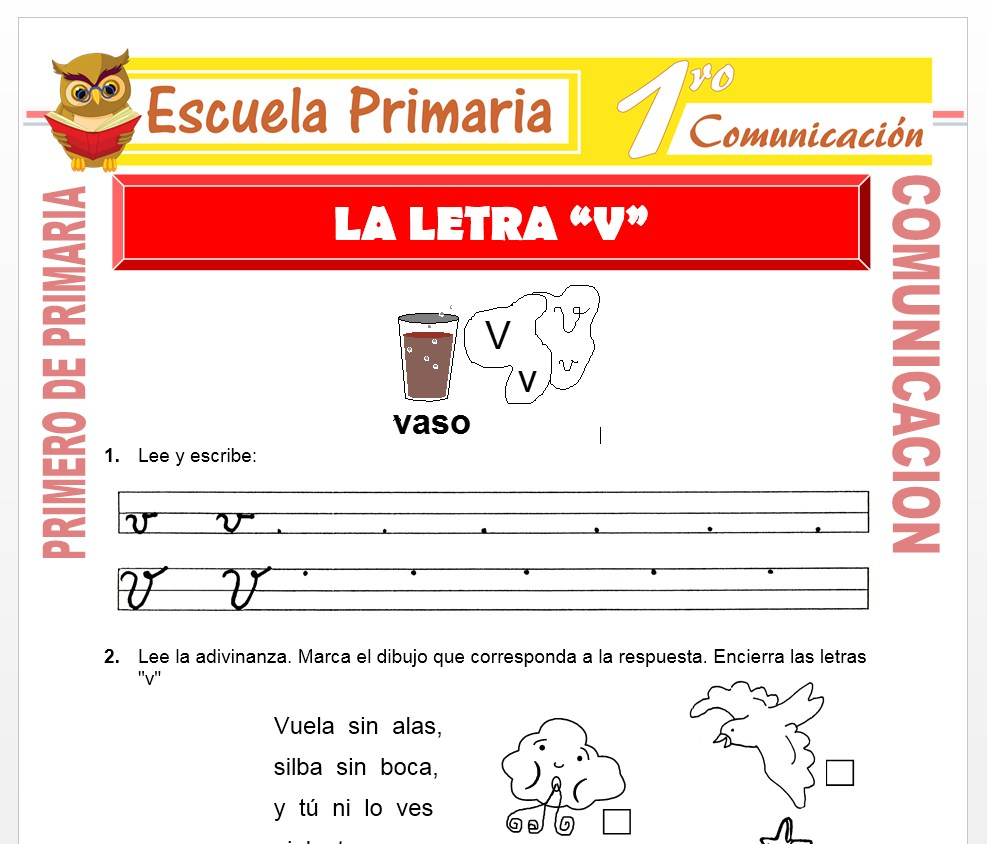 Ficha de La Letra V para Primero de Primaria