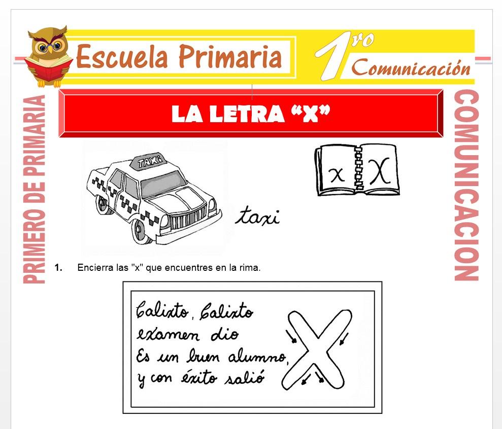 Ficha de La Letra X para Primero de Primaria