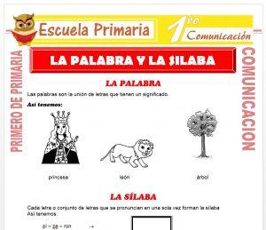 Ficha de La Palabra y La Silaba para Primero de Primaria