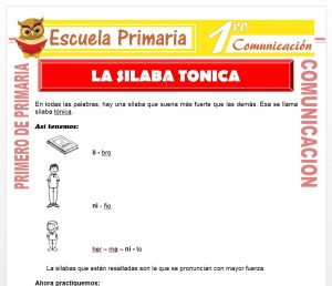 Ficha de La Silaba Tonica para Primero de Primaria