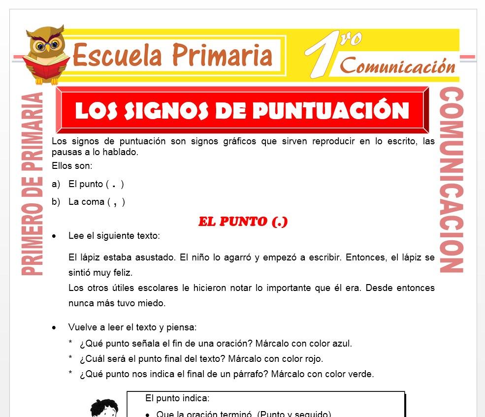 Ficha de Los Signos de Puntuacion para Niños de Primero de Primaria