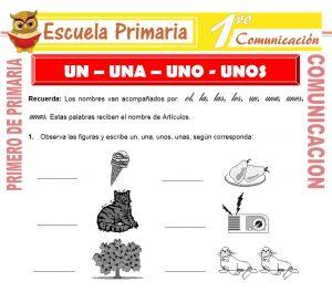 Ficha de Un-Una-Uno-Unos para Primero de Primaria