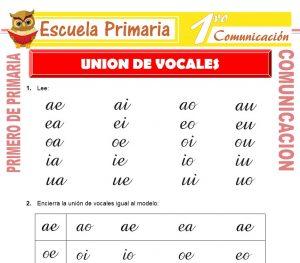 Ficha de Union de Vocales para Primero de Primaria