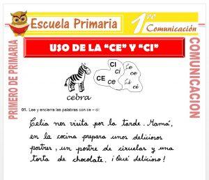 Ficha de Uso de la Ce y Ci para Primero de Primaria