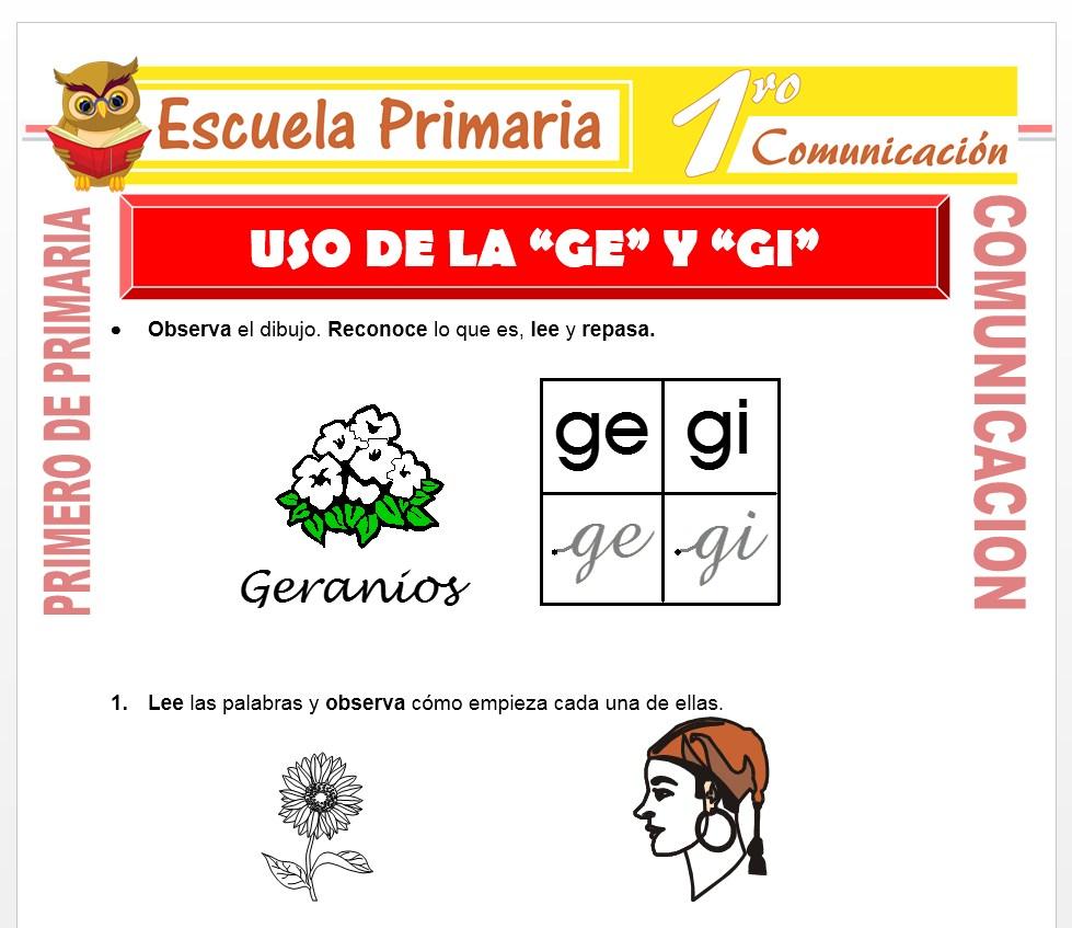 Ficha de Uso de la GE y GI para Primero de Primaria
