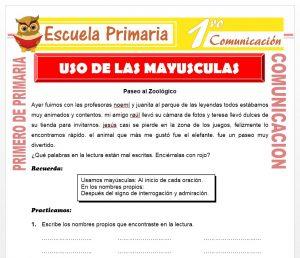 Ficha de Uso de Las Mayusculas para Primero de Primaria