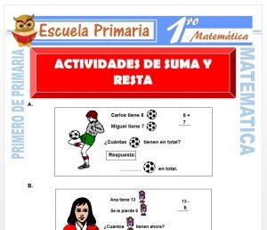 Ficha de Actividades de Suma y Resta para Primero de Primaria