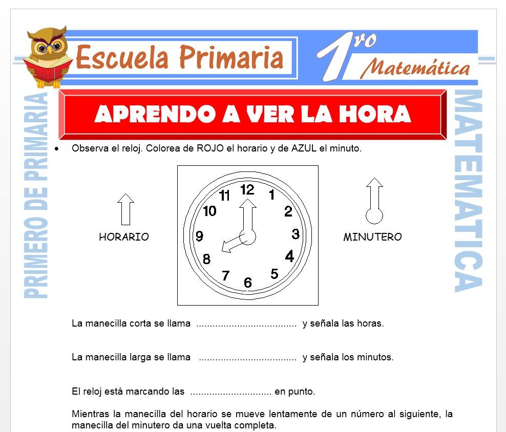 Ficha de Aprendo a Ver La Hora para Primero de Primaria