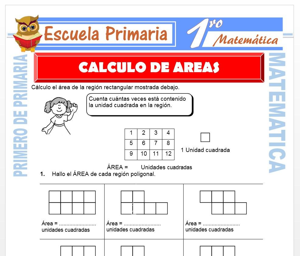 Ficha de Calculo de Areas para Primero de Primaria