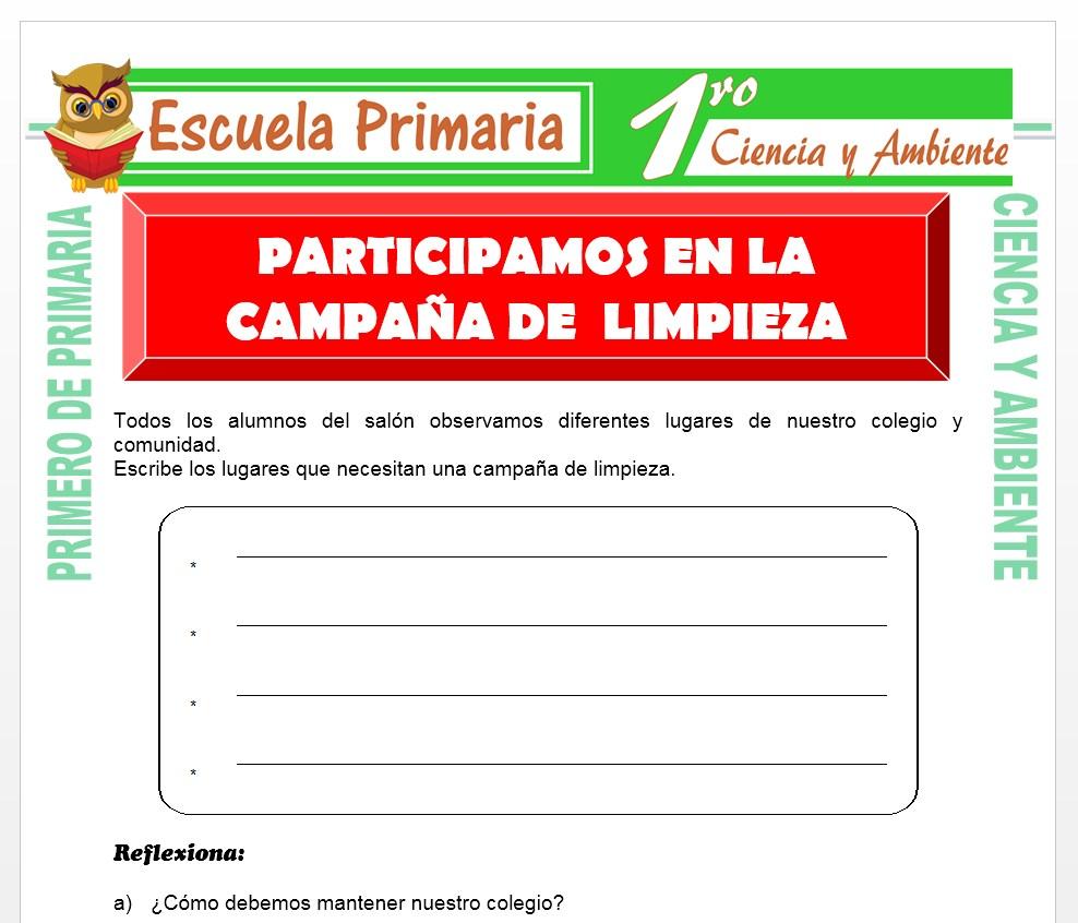 Ficha de Campaña de Limpieza para Primero de Primaria
