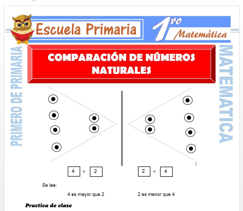 Ficha de Comparación de Números Naturales para Primero de Primaria