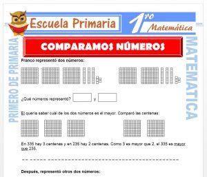 Ficha de Comparamos Números para Primero de Primaria