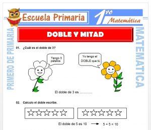 Ficha de Doble y Mitad para Primero de Primaria