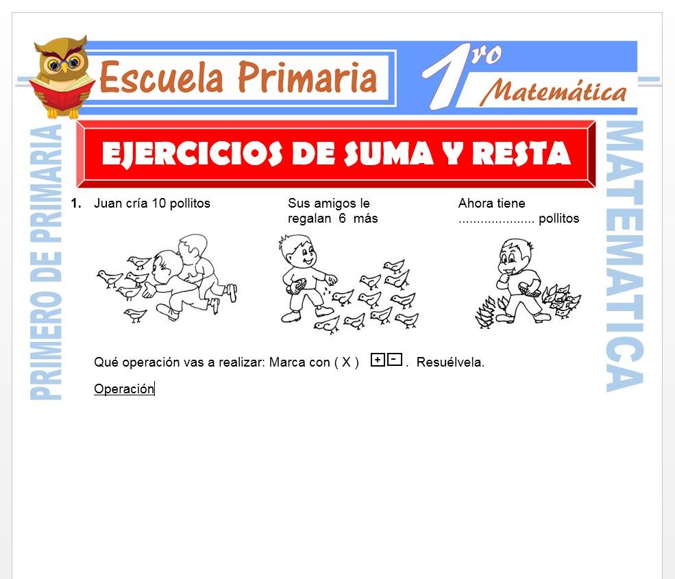 Ficha de Ejercicios de Suma y Resta para Primero de Primaria