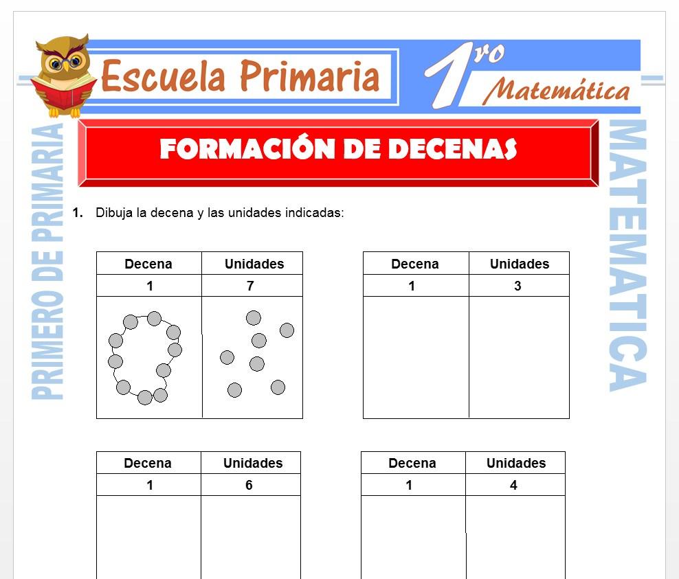Ficha de Formación de Decenas para Primero de Primaria