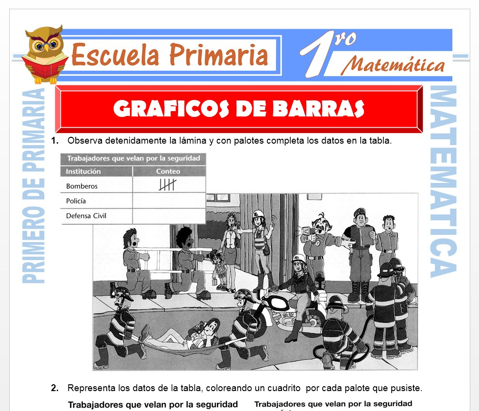 Ficha de Graficos de Barras para Primero de Primaria