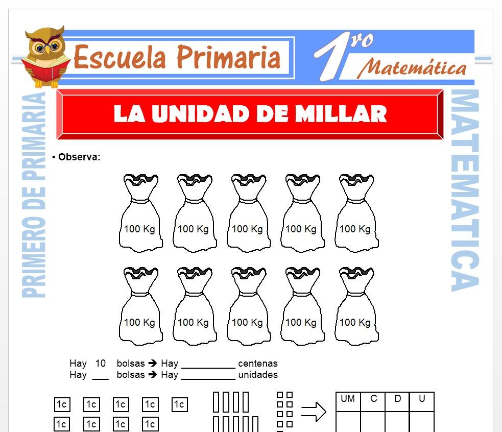Ficha de La Unidad de Millar para Primero de Primaria