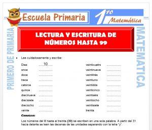 Ficha de Lectura y Escritura de Numeros hasta 99 para Primero de Primaria