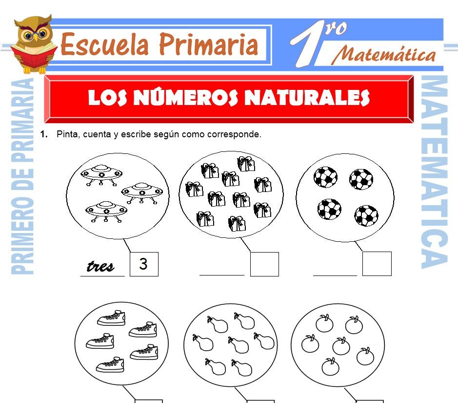 Ficha de Los Números Naturales para Primero de Primaria