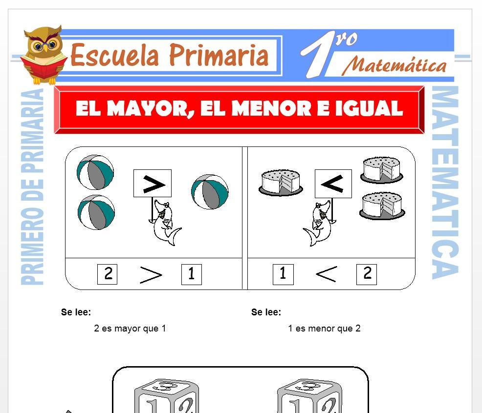 Ficha de Mayor-Menor-Igual para Primero de Primaria