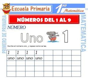 Ficha de Números de 1 al 9 para Primero de Primaria