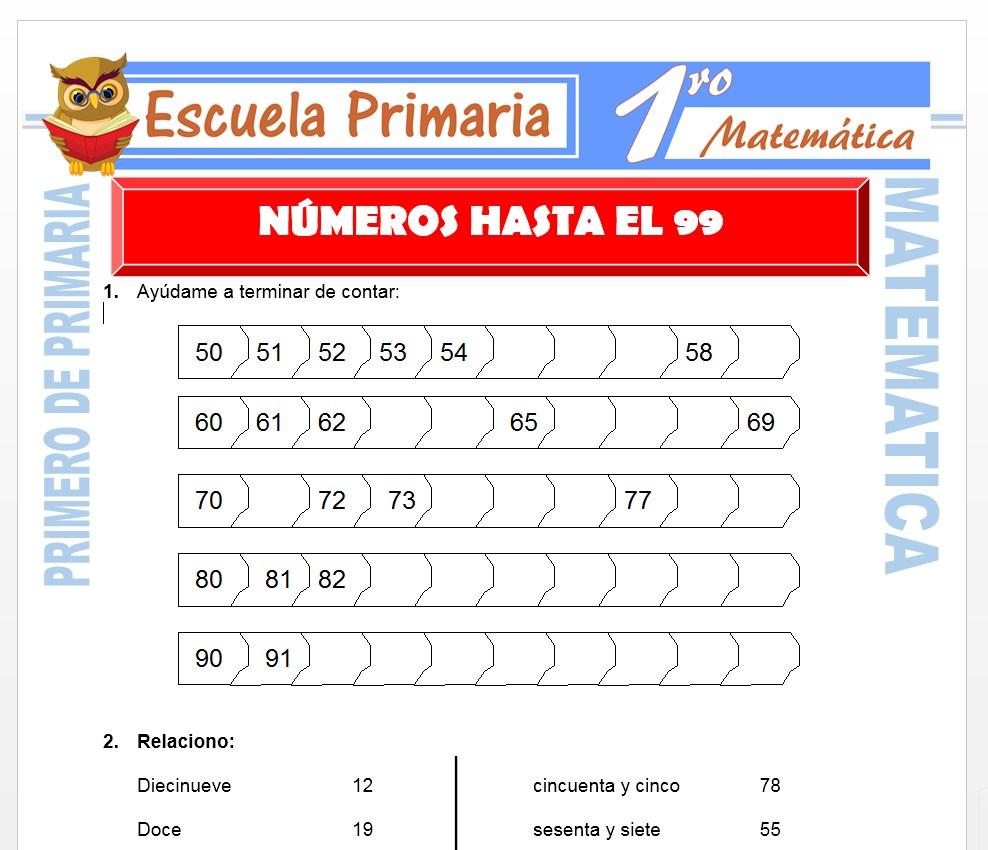Ficha de Numeros hasta el 99 para Primero de Primaria