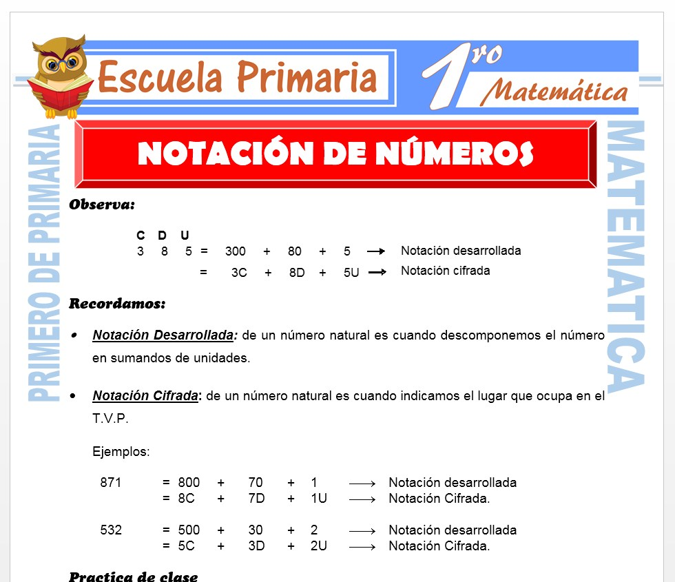 Ficha de Notación de Números para Primero de Primaria
