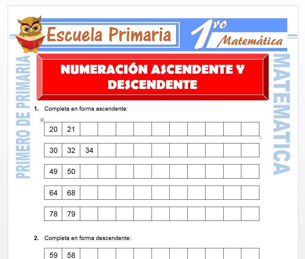 Ficha de Numeración Ascendente y Descendente para Primero de Primaria
