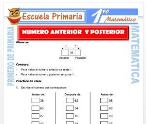 Ficha de Numero Anterior y Posterior para Primero de Primaria