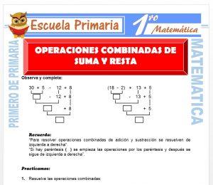 Ficha de Operaciones Combinadas de Suma y Resta para Primero de Primaria