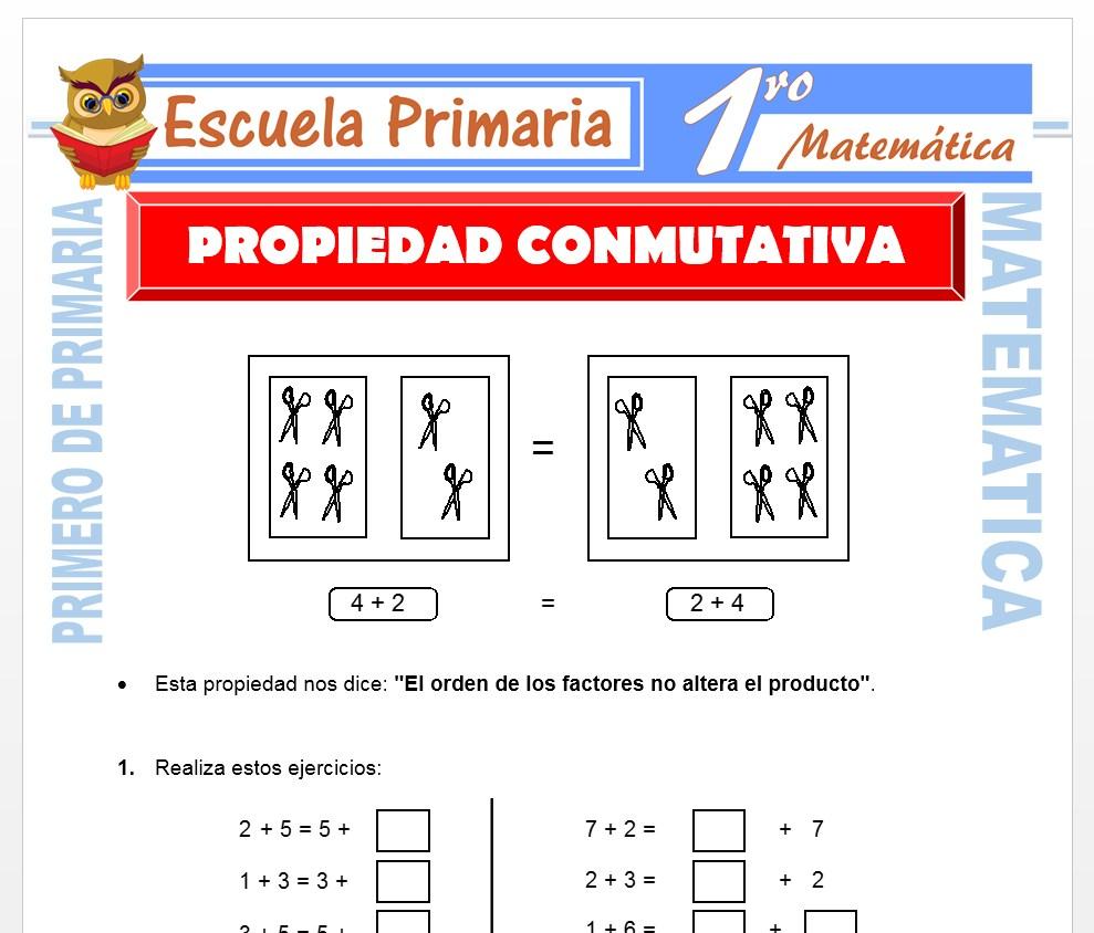 Ficha de Propiedad Conmutativa para Primero de Primaria