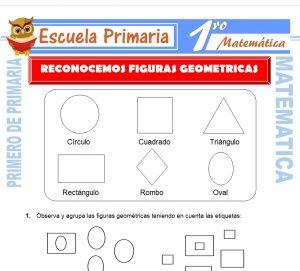 Ficha de Reconocemos Figuras Geometricas para Primero de Primaria