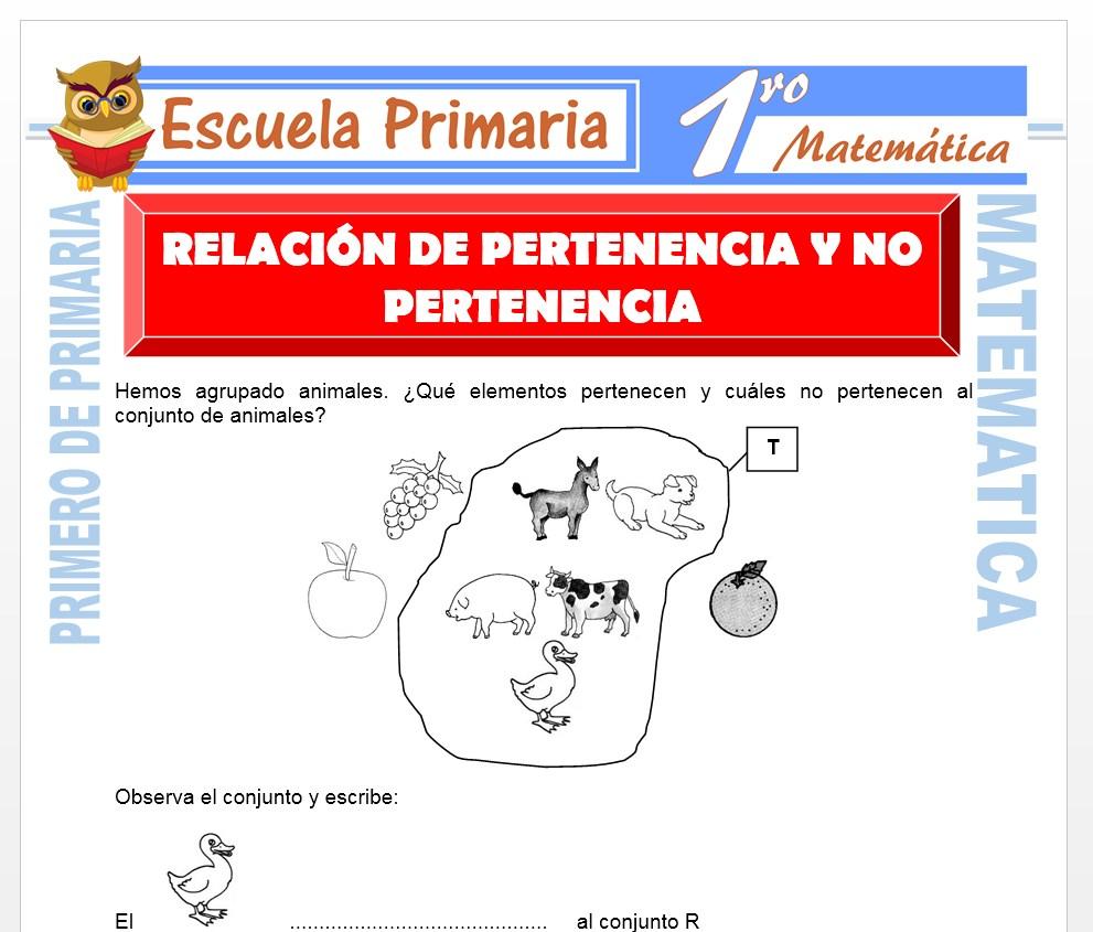 Ficha de Relación de Pertenencia y No Pertenencia para Primero de Primaria