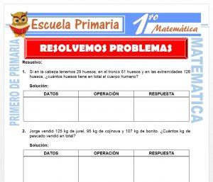 Ficha de Resolvemos Problemas para Primero de Primaria