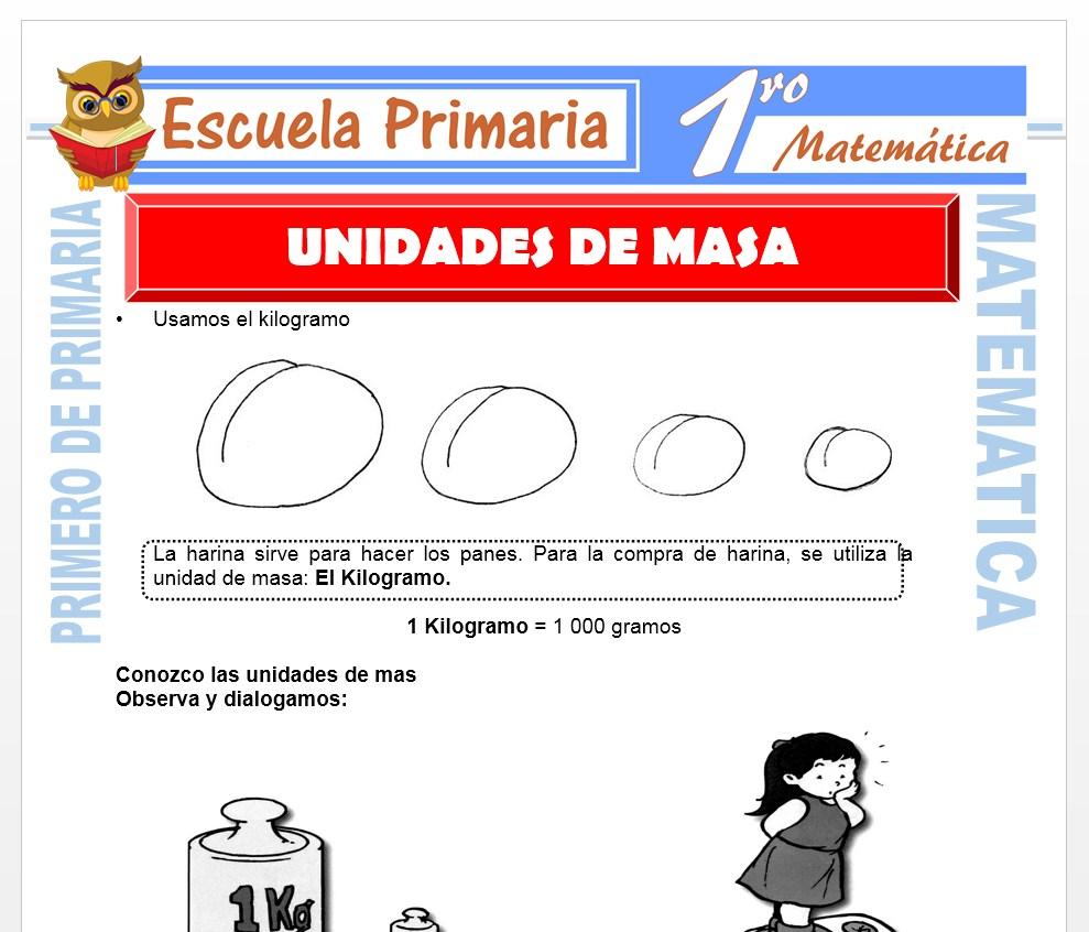 Ficha de Unidades de Masa para Primero de Primaria