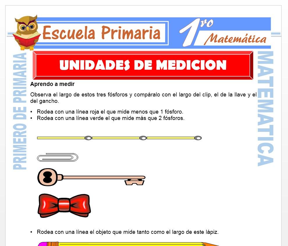 Ficha de Unidades de Medicion para Primero de Primaria
