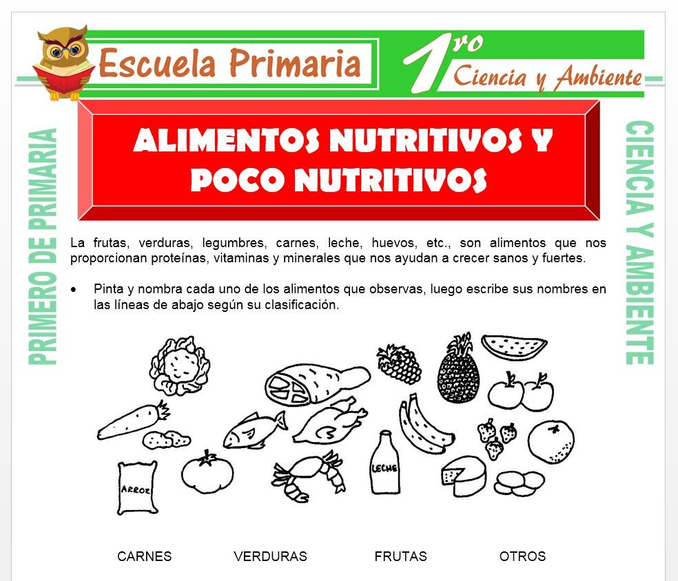 Ficha de Alimentos Nutritivos y No Nutritivos para Primero de Primaria