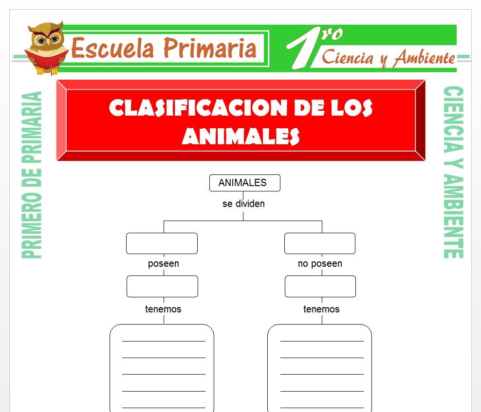Ficha de Clasificacion de Los Animales para Primero de Primaria