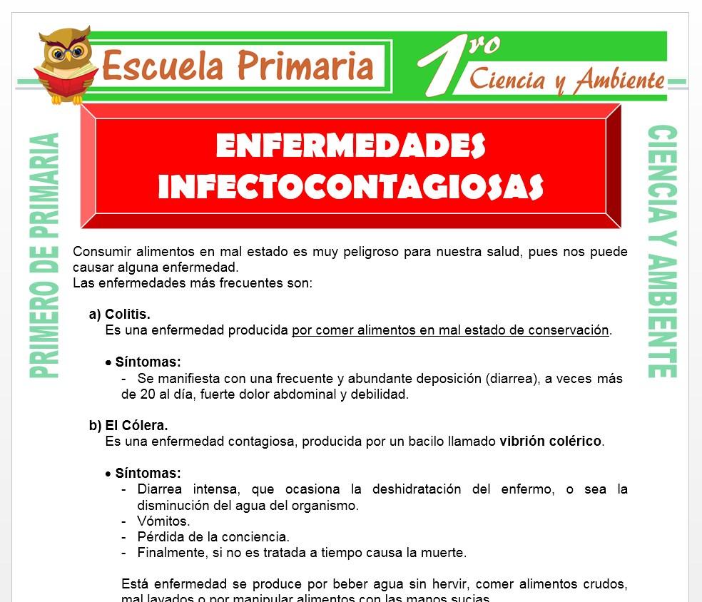 Ficha de Enfermedades Infectocontagiosas para Primero de Primaria