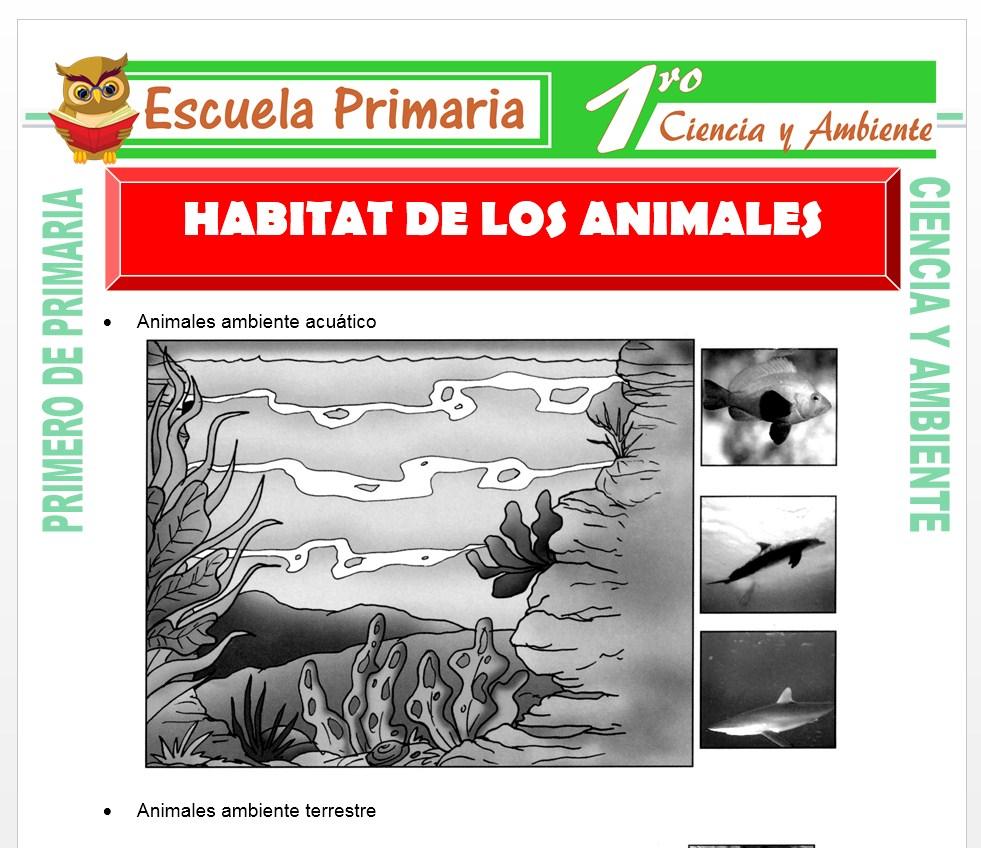 Ficha de Habitad de Los Animales para Primero de Primaria