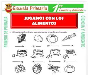 Ficha de Jugamos con Los Alimentos para Primero de Primaria